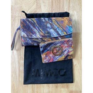 MIMCO Multi Coloured Print Clutch Bag & Purse Set
